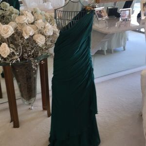 Emerald green be shoulder gown